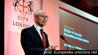 Herman Van Rompuy talade på torsdagen i brittiska finanskvarteren City of London.